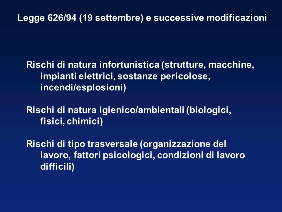 Legge 626/94 (19 settembre) e successive modificazioni Rischi di natura infortunistica (strutture, macchine, impianti elettrici, sostanze pericolose,