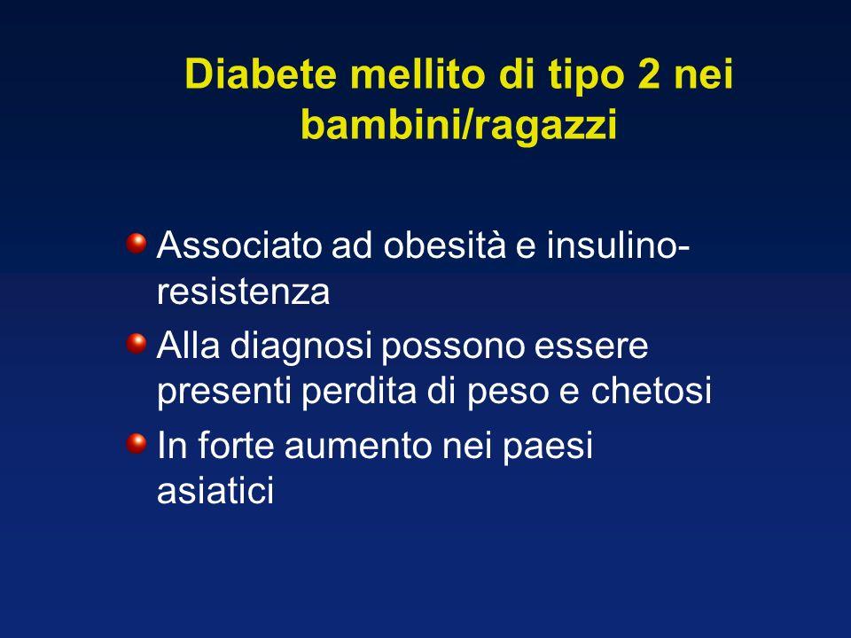 Associato ad obesità e insulino- resistenza Alla diagnosi possono essere presenti perdita di peso e chetosi In forte aumento nei paesi asiatici BMJ 20