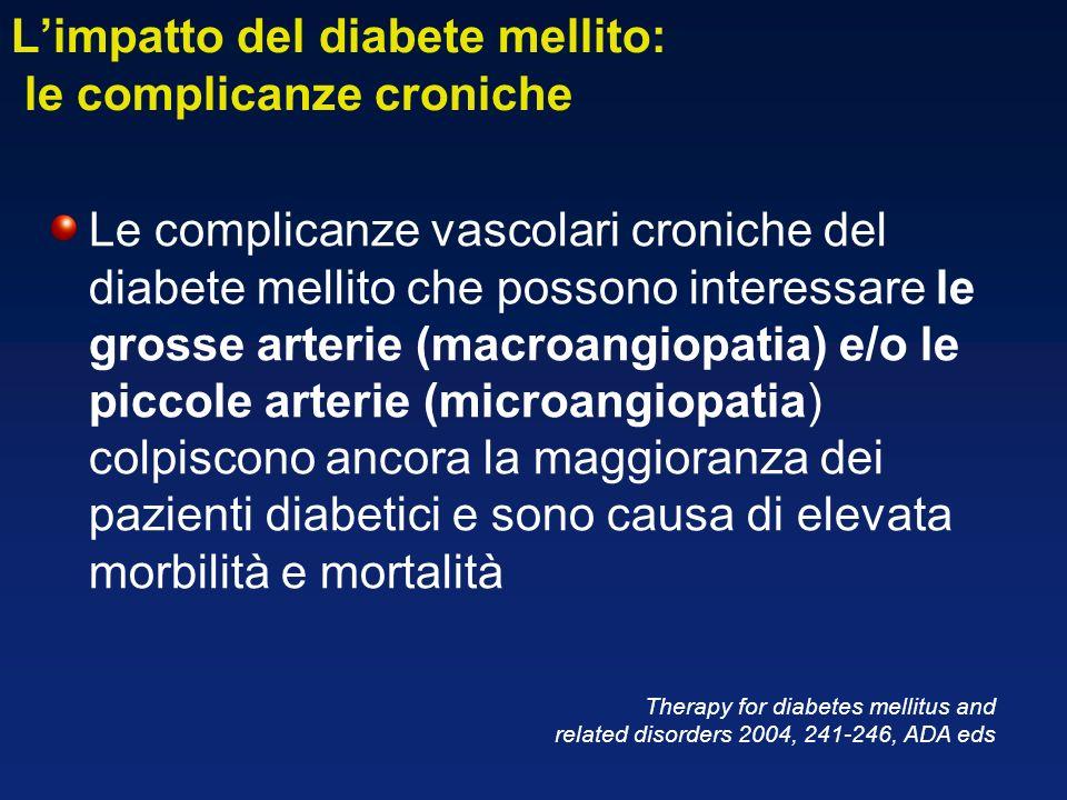 Limpatto del diabete mellito: le complicanze croniche Le complicanze vascolari croniche del diabete mellito che possono interessare le grosse arterie