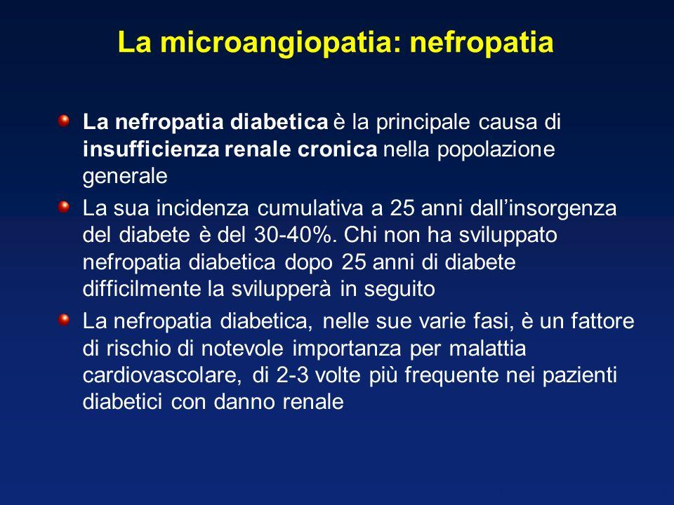 La microangiopatia: nefropatia La nefropatia diabetica è la principale causa di insufficienza renale cronica nella popolazione generale La sua inciden