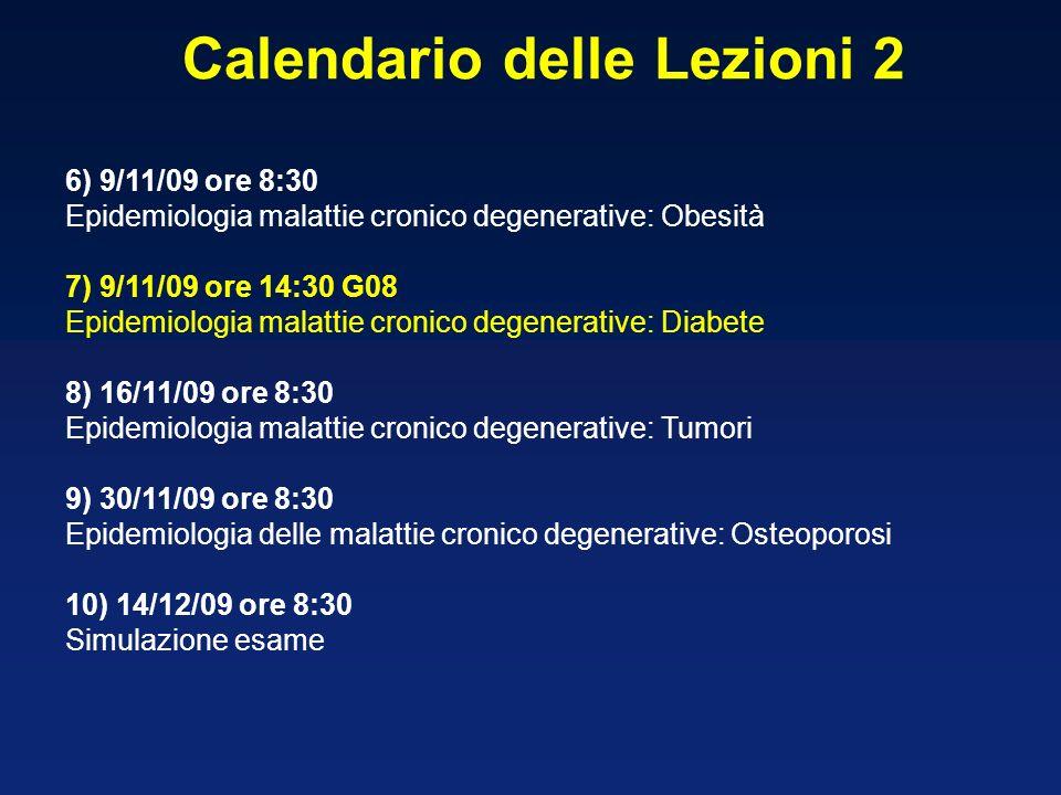 6) 9/11/09 ore 8:30 Epidemiologia malattie cronico degenerative: Obesità 7) 9/11/09 ore 14:30 G08 Epidemiologia malattie cronico degenerative: Diabete