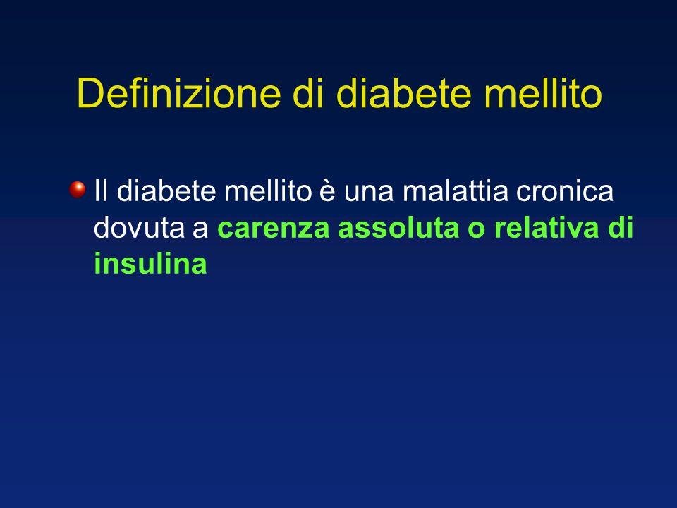 Definizione di diabete mellito caratterizzata da due principali difetti: insulino-resistenza e/o deficit di secrezione dellinsulina (disfunzione della -cellula pancreatica nellisola di Langerhans) e da alterazioni del metabolismo glucidico, lipidico e protidico.