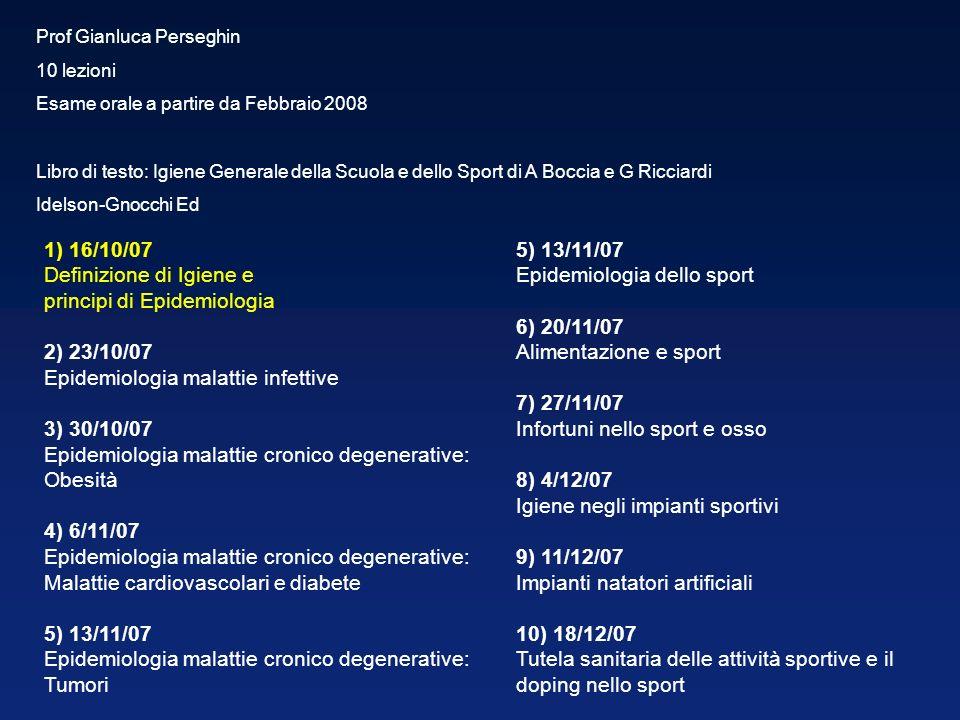 Prof Gianluca Perseghin 10 lezioni Esame orale a partire da Febbraio 2008 Libro di testo: Igiene Generale della Scuola e dello Sport di A Boccia e G R