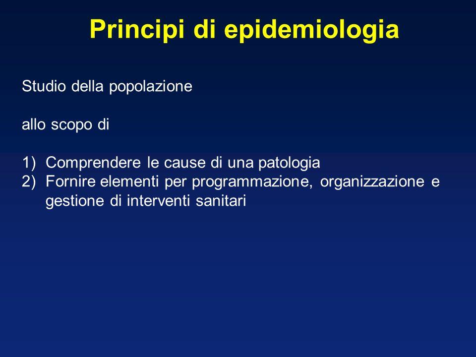 Principi di epidemiologia Studio della popolazione allo scopo di 1)Comprendere le cause di una patologia 2)Fornire elementi per programmazione, organi