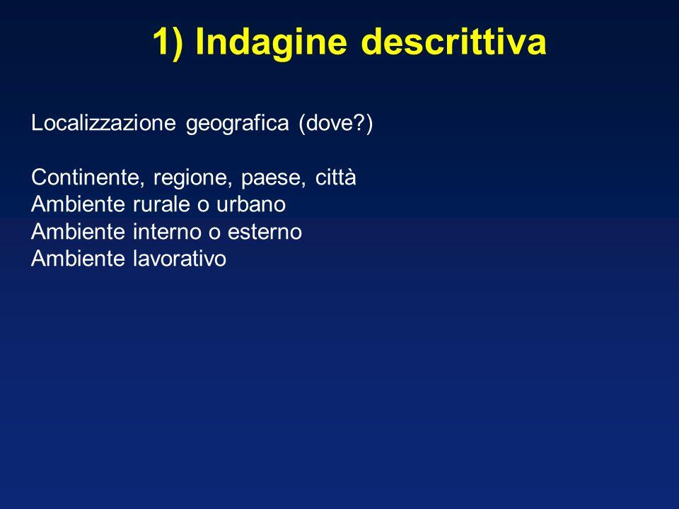 1) Indagine descrittiva Localizzazione geografica (dove?) Continente, regione, paese, città Ambiente rurale o urbano Ambiente interno o esterno Ambien