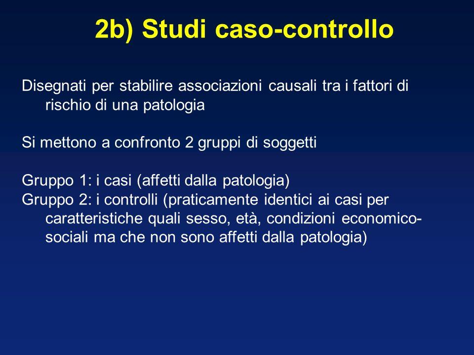 2b) Studi caso-controllo Disegnati per stabilire associazioni causali tra i fattori di rischio di una patologia Si mettono a confronto 2 gruppi di sog