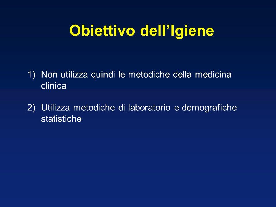 1)Non utilizza quindi le metodiche della medicina clinica 2)Utilizza metodiche di laboratorio e demografiche statistiche Obiettivo dellIgiene