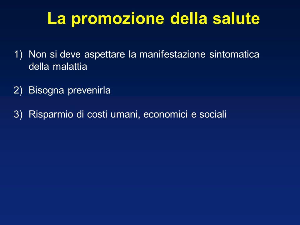 La promozione della salute 1)Non si deve aspettare la manifestazione sintomatica della malattia 2)Bisogna prevenirla 3)Risparmio di costi umani, econo