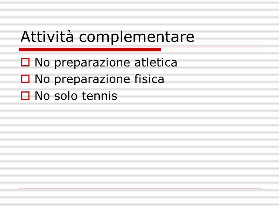 Attività complementare No preparazione atletica No preparazione fisica No solo tennis