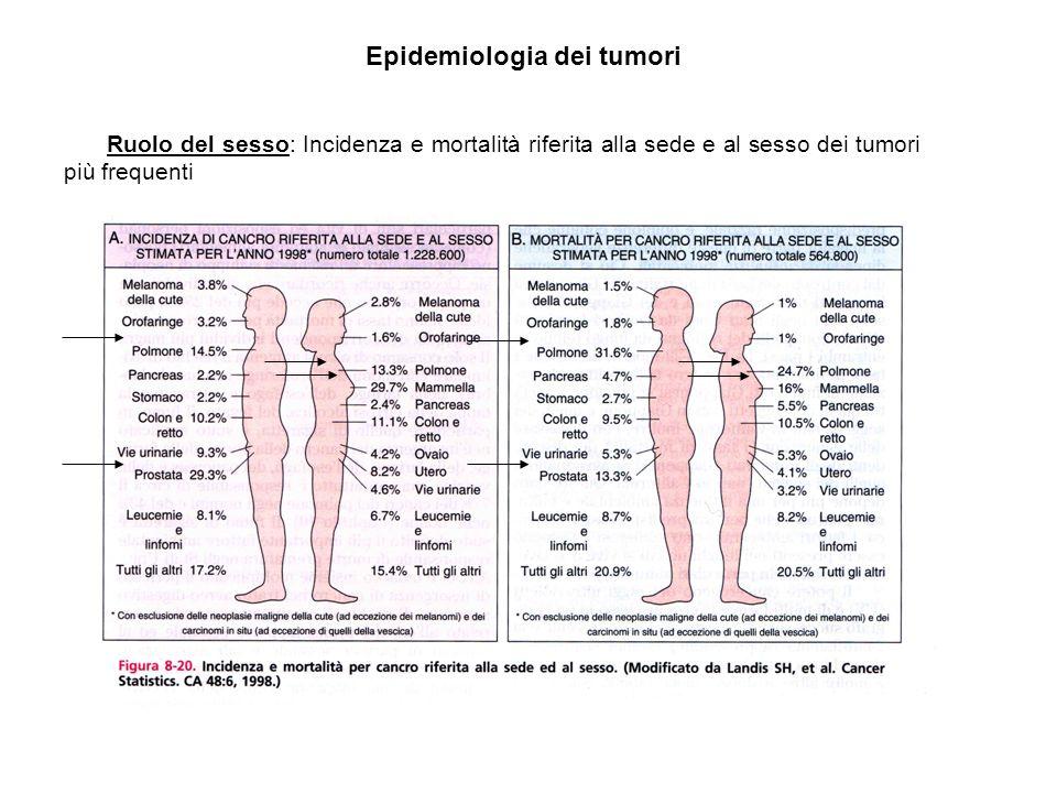 Ruolo del sesso: Incidenza e mortalità riferita alla sede e al sesso dei tumori più frequenti Epidemiologia dei tumori