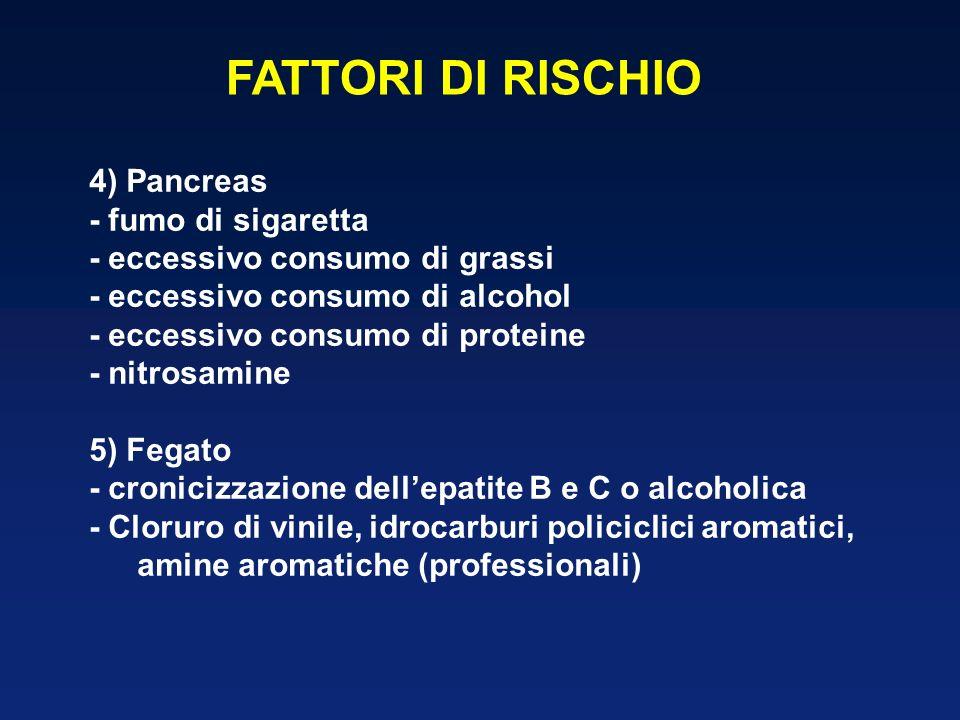 FATTORI DI RISCHIO 4) Pancreas - fumo di sigaretta - eccessivo consumo di grassi - eccessivo consumo di alcohol - eccessivo consumo di proteine - nitr
