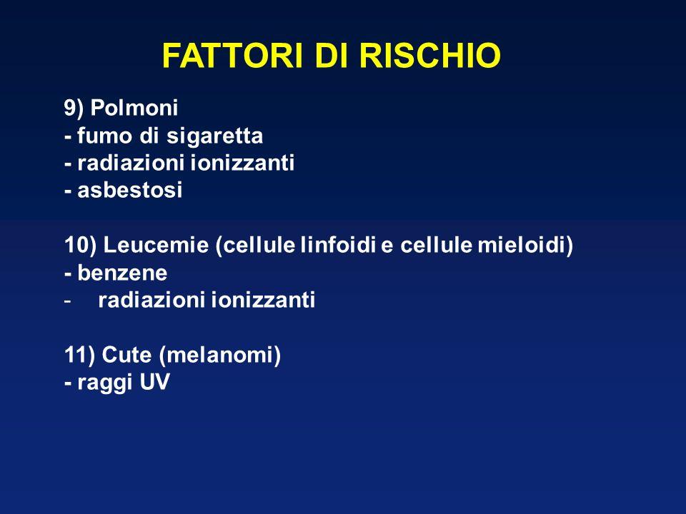 FATTORI DI RISCHIO 9) Polmoni - fumo di sigaretta - radiazioni ionizzanti - asbestosi 10) Leucemie (cellule linfoidi e cellule mieloidi) - benzene -ra
