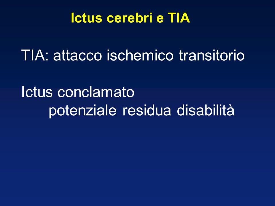 Ictus cerebri e TIA TIA: attacco ischemico transitorio Ictus conclamato potenziale residua disabilità