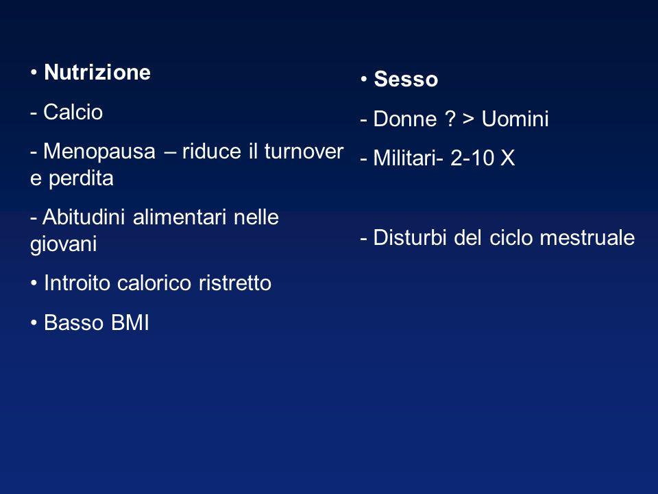 Nutrizione - Calcio - Menopausa – riduce il turnover e perdita - Abitudini alimentari nelle giovani Introito calorico ristretto Basso BMI Sesso - Donne .