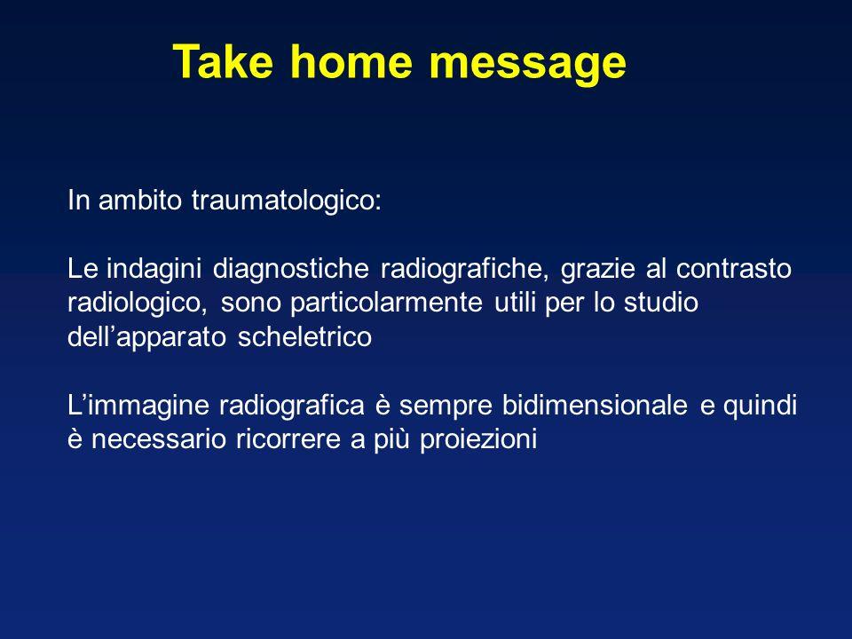 Take home message In ambito traumatologico: Le indagini diagnostiche radiografiche, grazie al contrasto radiologico, sono particolarmente utili per lo studio dellapparato scheletrico Limmagine radiografica è sempre bidimensionale e quindi è necessario ricorrere a più proiezioni