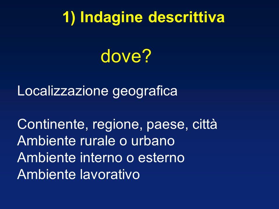 1) Indagine descrittiva Localizzazione geografica Continente, regione, paese, città Ambiente rurale o urbano Ambiente interno o esterno Ambiente lavor