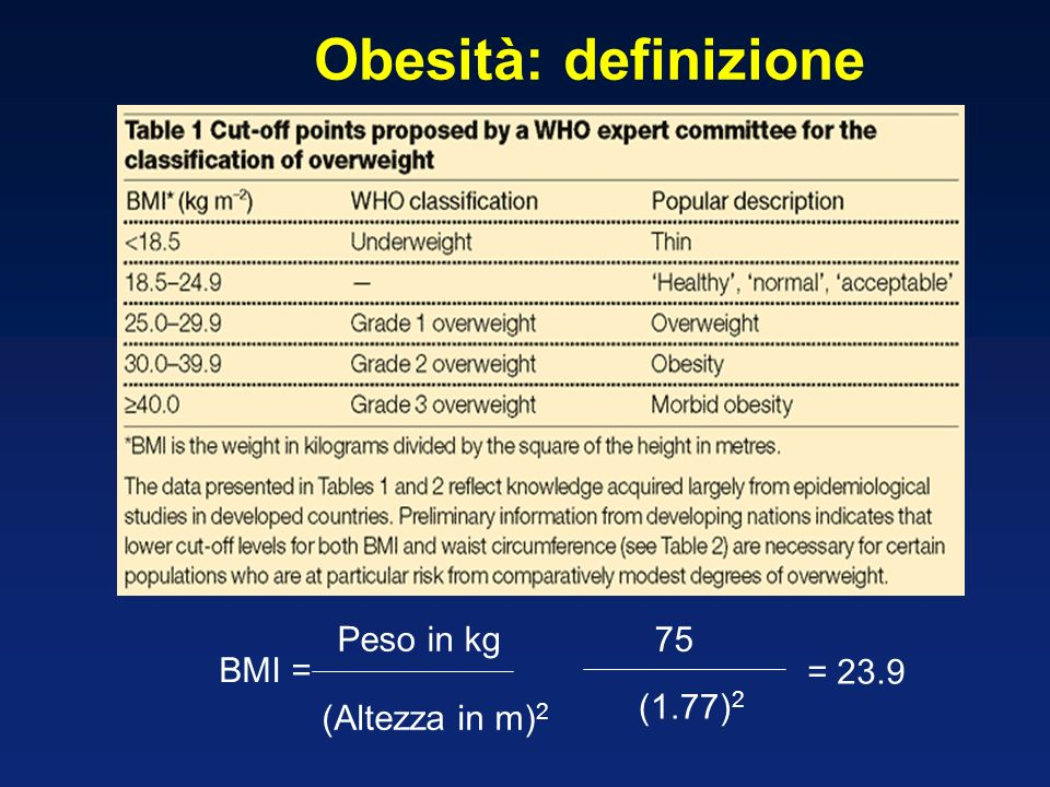 Hypo-caloric Diets Behavioral therapy Exercise Surgery Evidence-based medicine Obesità: terapia