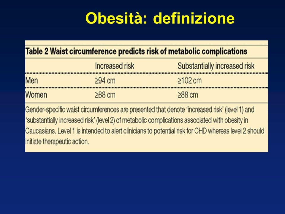 Waist circumference is a surrogate marker of visceral fat Women >88 cm = Increased risk 1 Men >102 cm = Increased risk 1 1 Lean MEJ, et al.