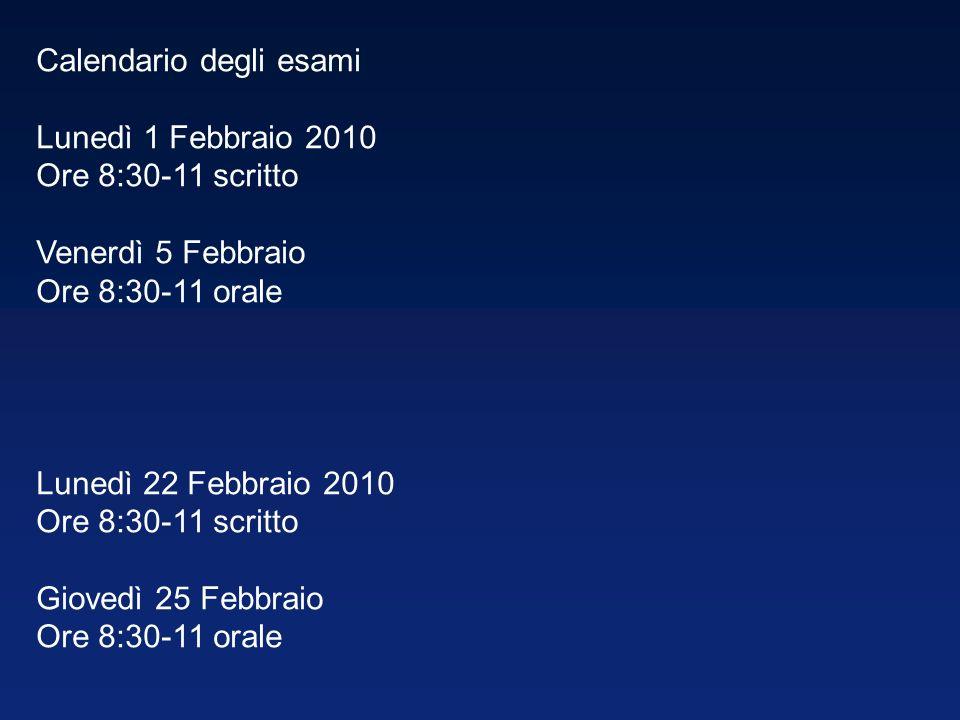 Calendario degli esami Lunedì 1 Febbraio 2010 Ore 8:30-11 scritto Venerdì 5 Febbraio Ore 8:30-11 orale Lunedì 22 Febbraio 2010 Ore 8:30-11 scritto Gio