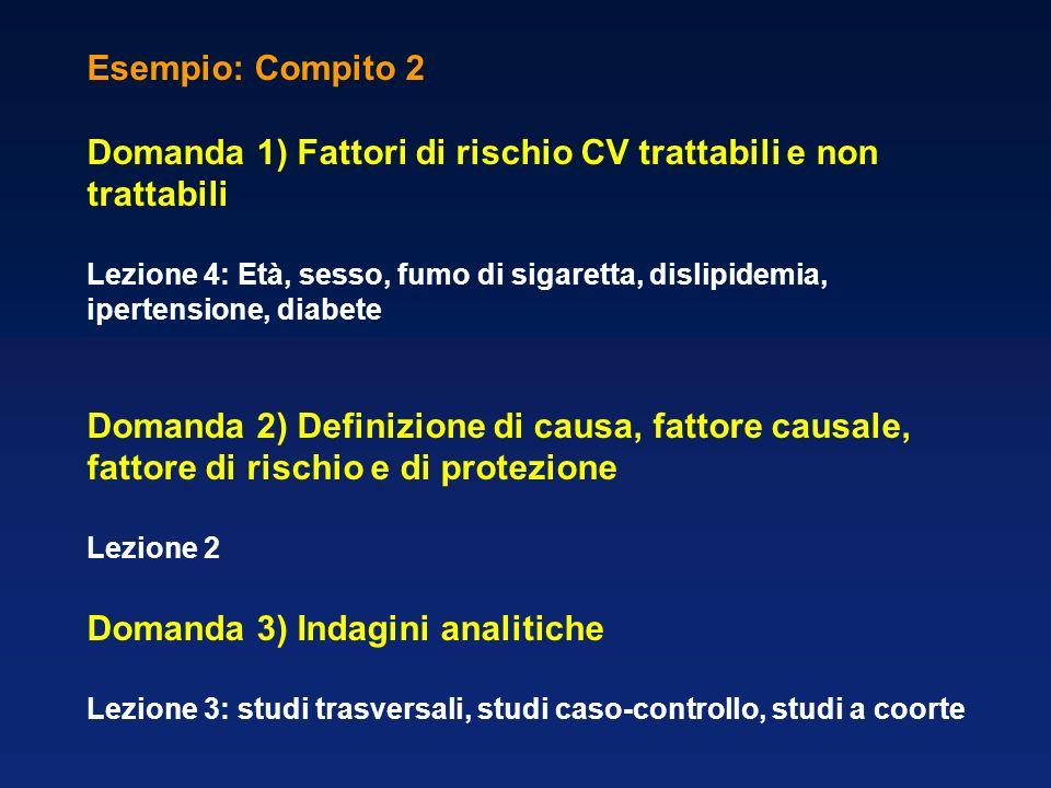 Esempio: Compito 3 Domanda 1) Obesità: misurazione, epidemiologia e complicanze Lezione 5: Domanda 2) Definizione di prevenzione Lezione 1: prevenzione primaria, secondaria, terziaria Domanda 3) Indagini sperimentali Lezione 3: fase I, II, III, IV