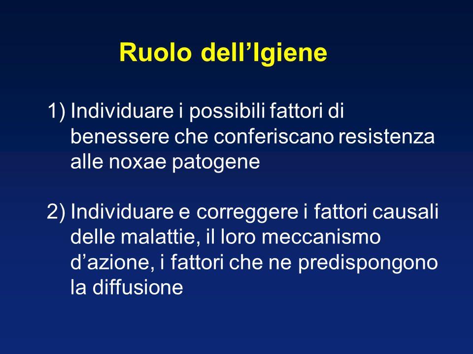 1)Individuare i possibili fattori di benessere che conferiscano resistenza alle noxae patogene 2)Individuare e correggere i fattori causali delle mala
