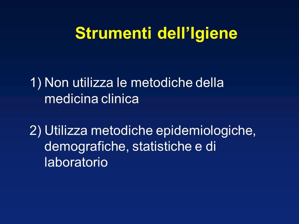 1)Non utilizza le metodiche della medicina clinica 2)Utilizza metodiche epidemiologiche, demografiche, statistiche e di laboratorio Strumenti dellIgie