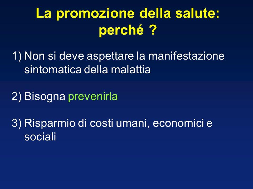 La promozione della salute: perché ? 1)Non si deve aspettare la manifestazione sintomatica della malattia 2)Bisogna prevenirla 3)Risparmio di costi um