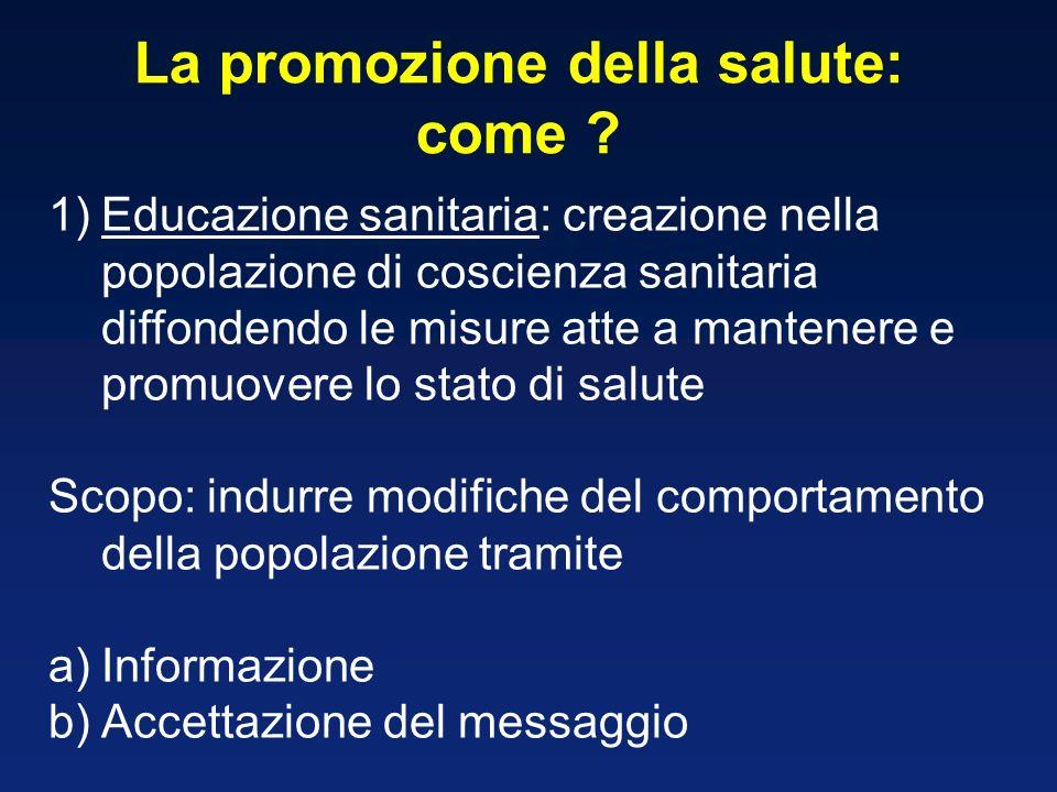 La promozione della salute: come ? 1)Educazione sanitaria: creazione nella popolazione di coscienza sanitaria diffondendo le misure atte a mantenere e