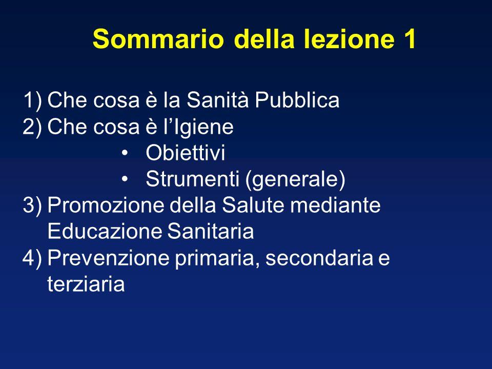 Sommario della lezione 1 1)Che cosa è la Sanità Pubblica 2)Che cosa è lIgiene Obiettivi Strumenti (generale) 3)Promozione della Salute mediante Educaz