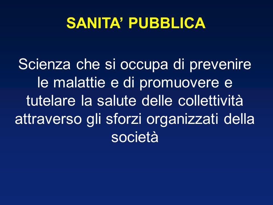 SANITA PUBBLICA Scienza che si occupa di prevenire le malattie e di promuovere e tutelare la salute delle collettività attraverso gli sforzi organizza