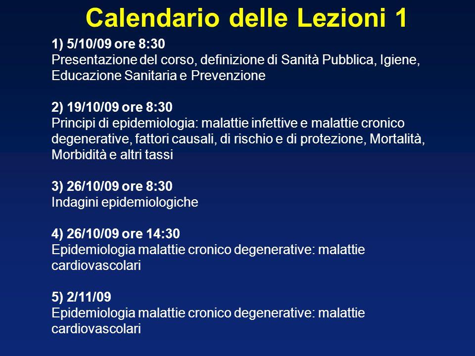 1) 5/10/09 ore 8:30 Presentazione del corso, definizione di Sanità Pubblica, Igiene, Educazione Sanitaria e Prevenzione 2) 19/10/09 ore 8:30 Principi