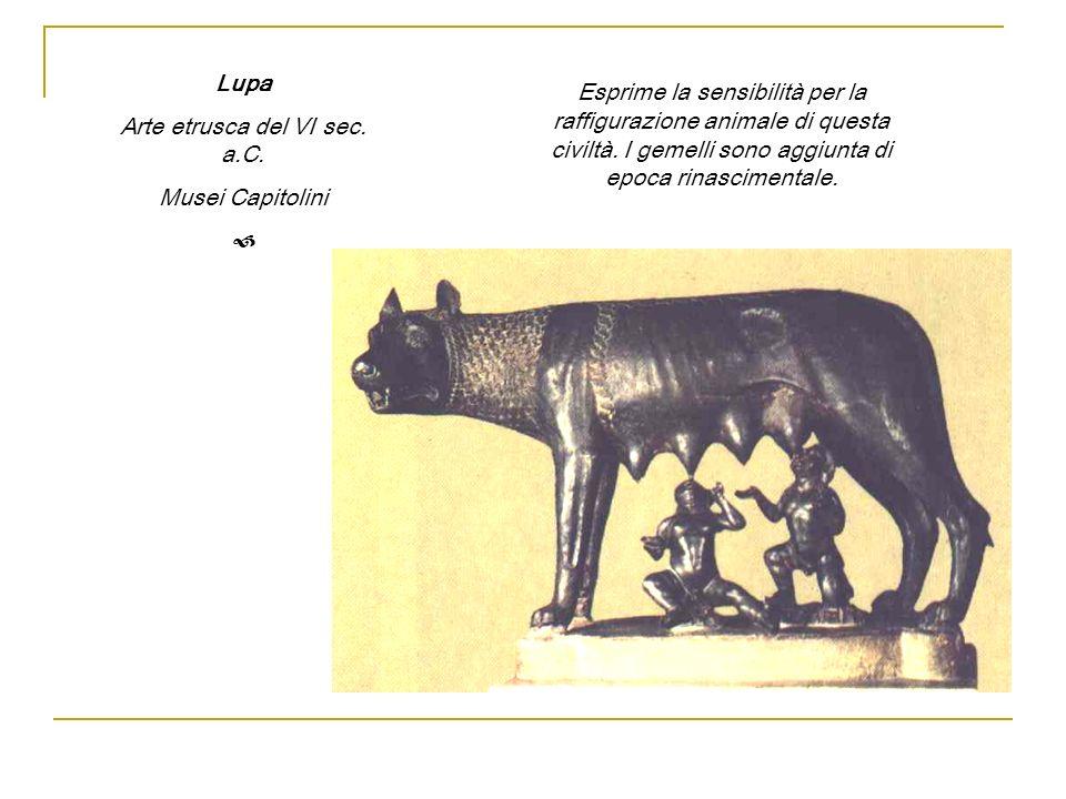 Lupa Arte etrusca del VI sec. a.C. Musei Capitolini Esprime la sensibilità per la raffigurazione animale di questa civiltà. I gemelli sono aggiunta di