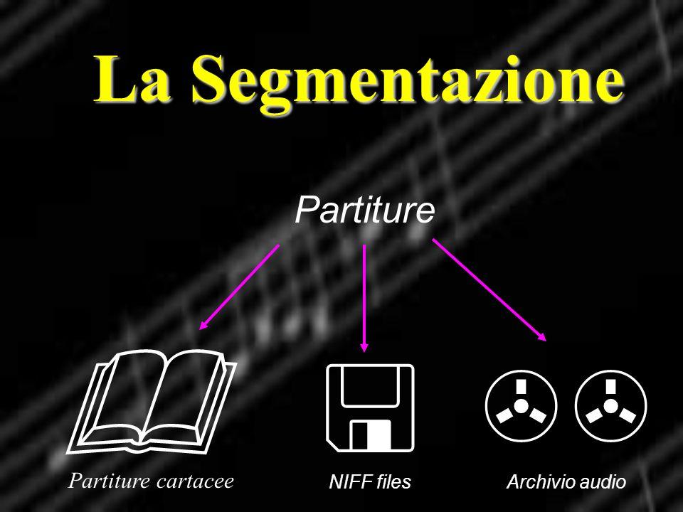La Segmentazione Partiture NIFF files Partiture cartacee Archivio audio