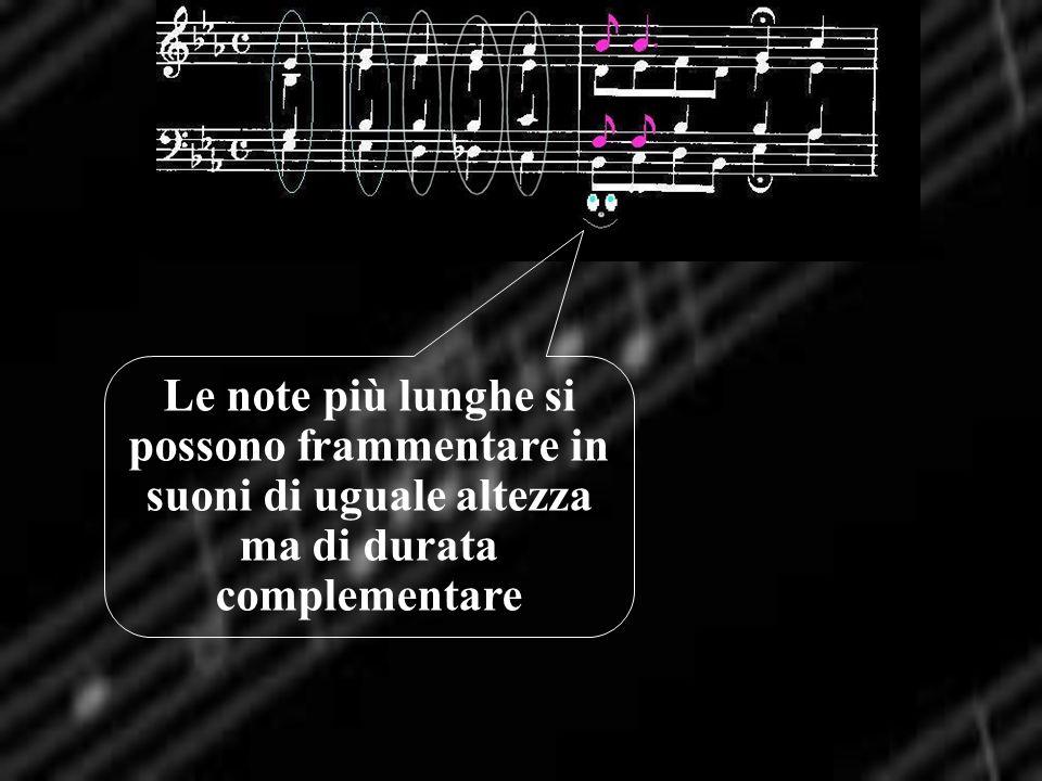 Le note più lunghe si possono frammentare in suoni di uguale altezza ma di durata complementare
