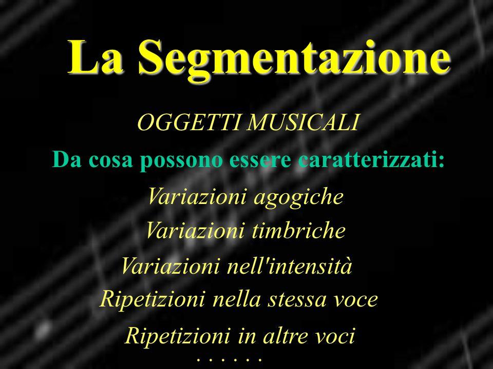 La Segmentazione OGGETTI MUSICALI Da cosa possono essere caratterizzati: Variazioni agogiche Variazioni nell'intensità Ripetizioni nella stessa voce R