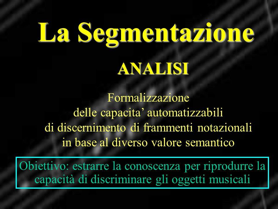 La Segmentazione ANALISI Formalizzazione delle capacita automatizzabili di discernimento di frammenti notazionali in base al diverso valore semantico
