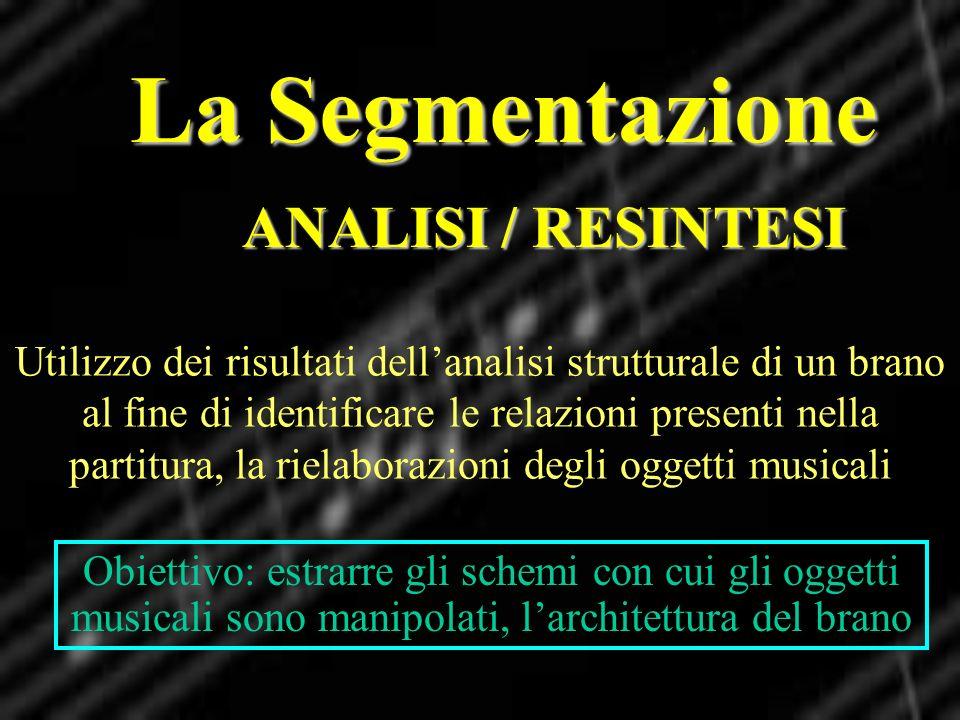 La Segmentazione ANALISI / RESINTESI Utilizzo dei risultati dellanalisi strutturale di un brano al fine di identificare le relazioni presenti nella pa