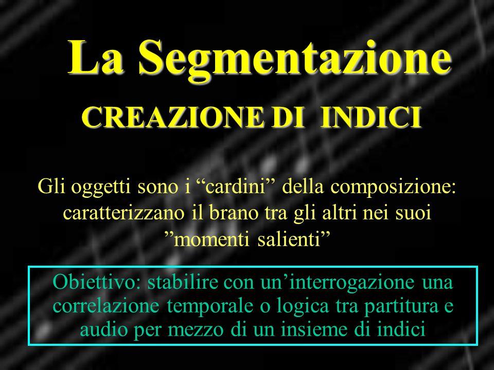 La Segmentazione CREAZIONE DI INDICI Gli oggetti sono i cardini della composizione: caratterizzano il brano tra gli altri nei suoi momenti salienti Ob