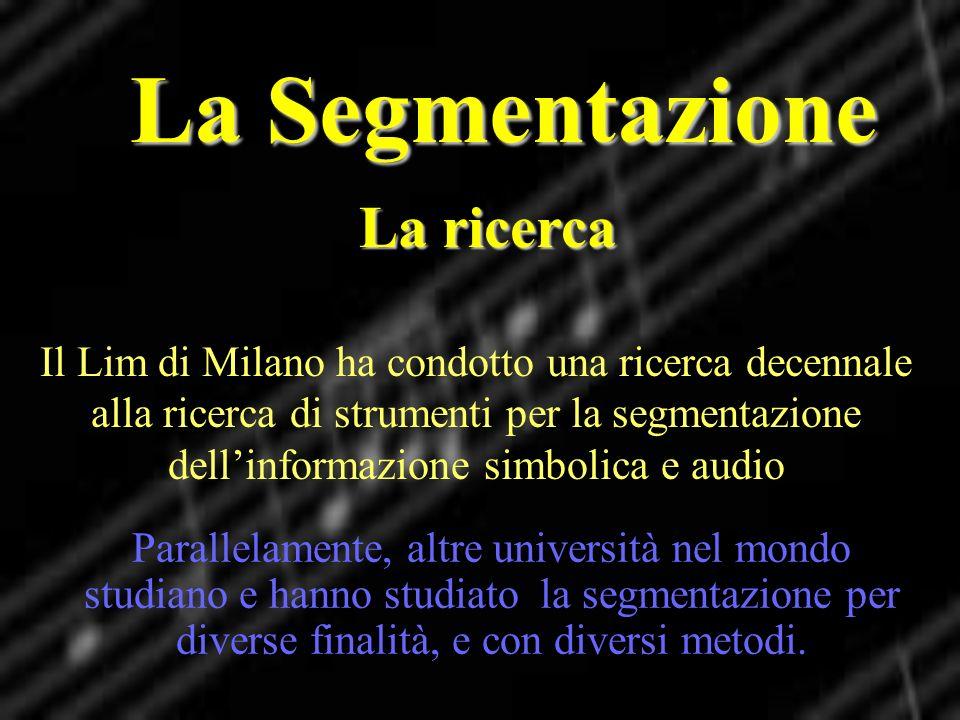 La Segmentazione La ricerca Il Lim di Milano ha condotto una ricerca decennale alla ricerca di strumenti per la segmentazione dellinformazione simboli