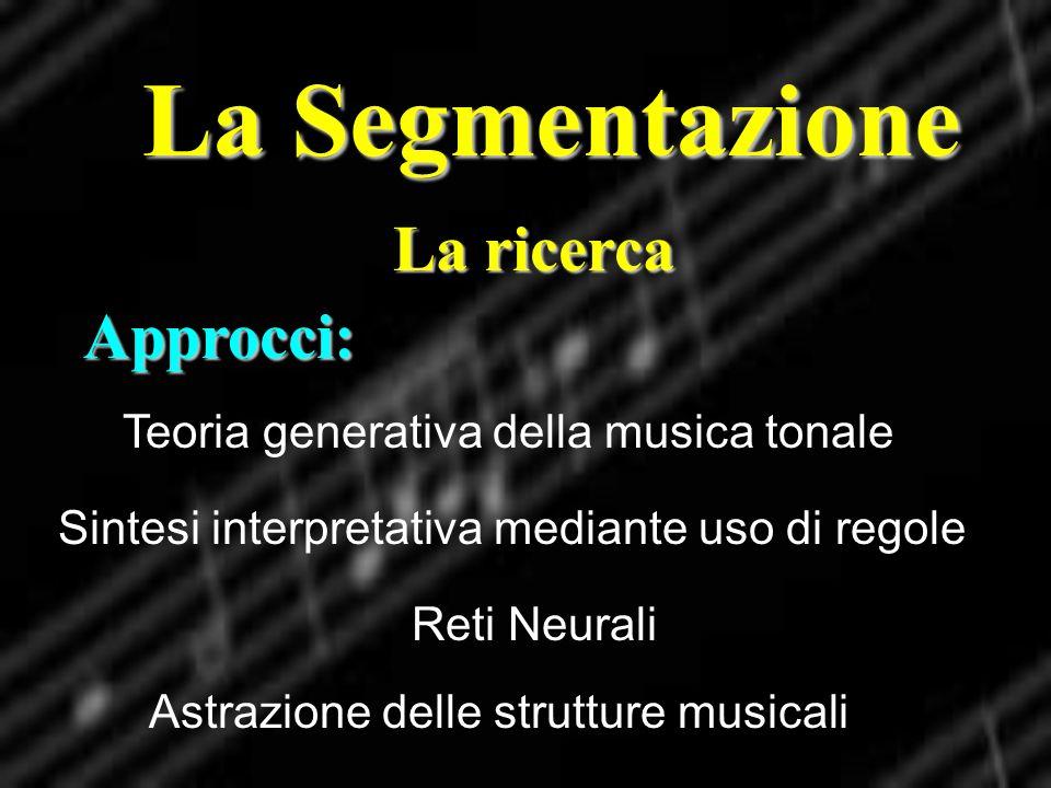 La Segmentazione La ricerca Approcci: Teoria generativa della musica tonale Sintesi interpretativa mediante uso di regole Reti Neurali Astrazione dell