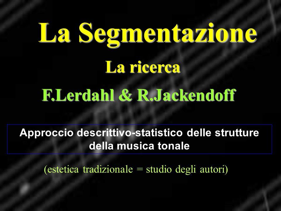 La Segmentazione La ricerca Approccio descrittivo-statistico delle strutture della musica tonale F.Lerdahl & R.Jackendoff (estetica tradizionale = stu