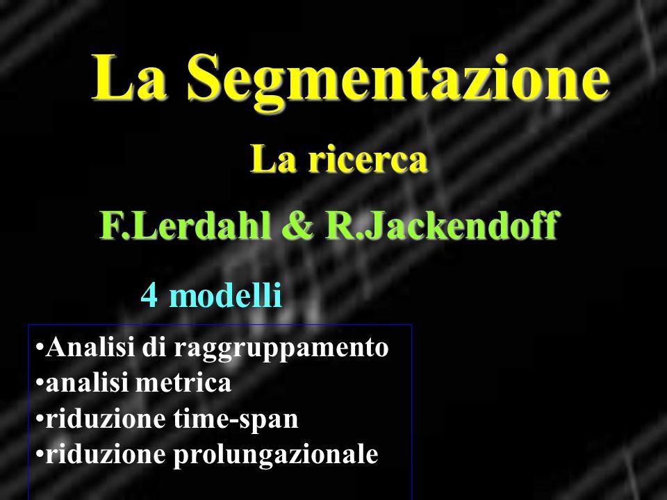 La Segmentazione La ricerca Analisi di raggruppamento analisi metrica riduzione time-span riduzione prolungazionale F.Lerdahl & R.Jackendoff 4 modelli