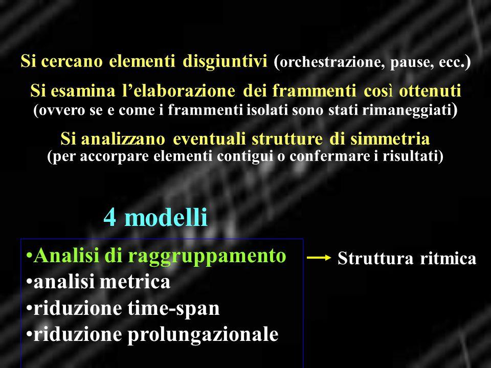 Analisi di raggruppamento analisi metrica riduzione time-span riduzione prolungazionale 4 modelli Struttura ritmica Si cercano elementi disgiuntivi (
