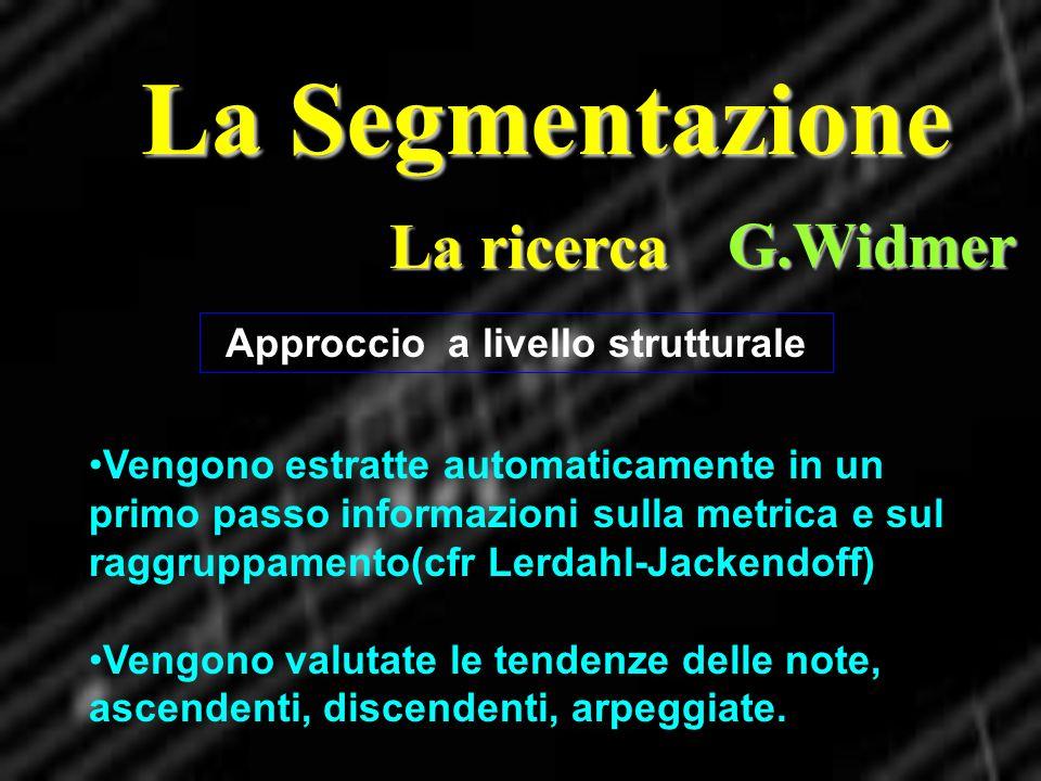 La Segmentazione La ricerca G.Widmer Vengono estratte automaticamente in un primo passo informazioni sulla metrica e sul raggruppamento(cfr Lerdahl-Ja