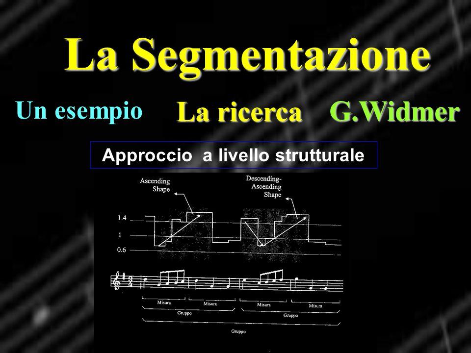 La Segmentazione La ricerca G.Widmer Approccio a livello strutturale Un esempio