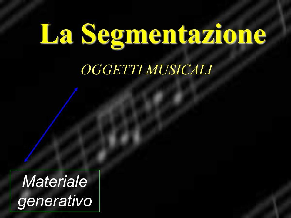 La Segmentazione Materiale generativo OGGETTI MUSICALI