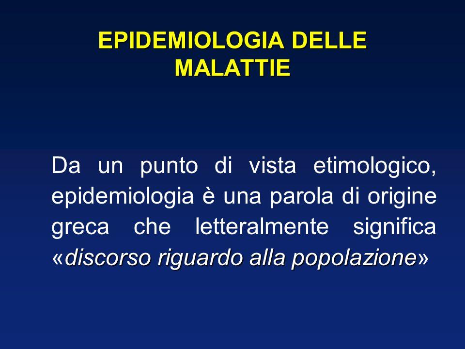 EPIDEMIOLOGIA DELLE MALATTIE discorso riguardo alla popolazione Da un punto di vista etimologico, epidemiologia è una parola di origine greca che letteralmente significa «discorso riguardo alla popolazione»