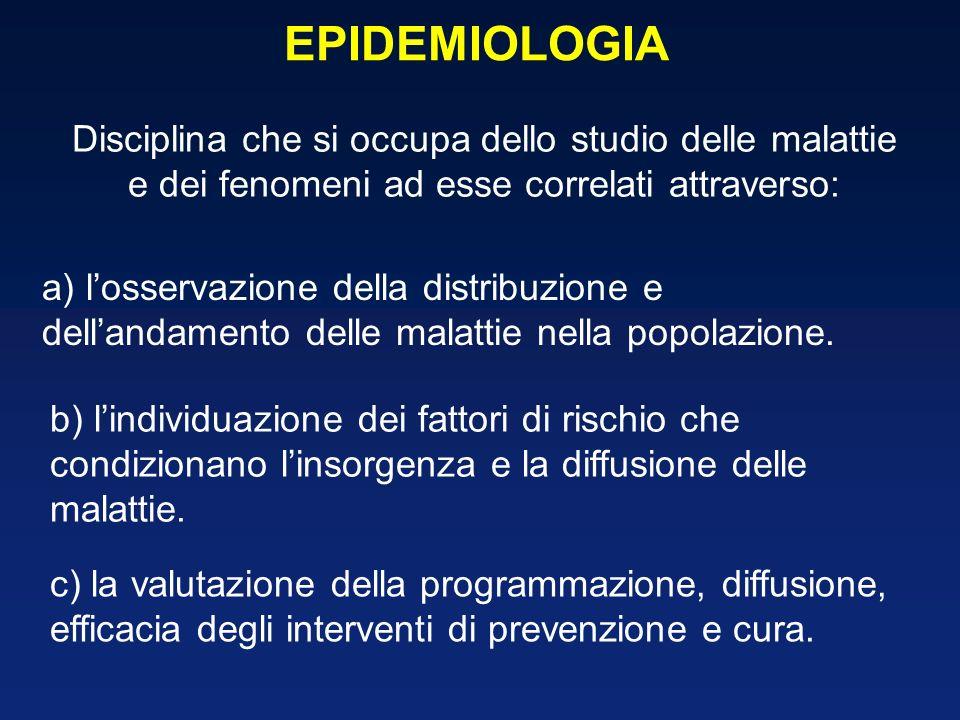 EPIDEMIOLOGIA Disciplina che si occupa dello studio delle malattie e dei fenomeni ad esse correlati attraverso: b) lindividuazione dei fattori di rischio che condizionano linsorgenza e la diffusione delle malattie.