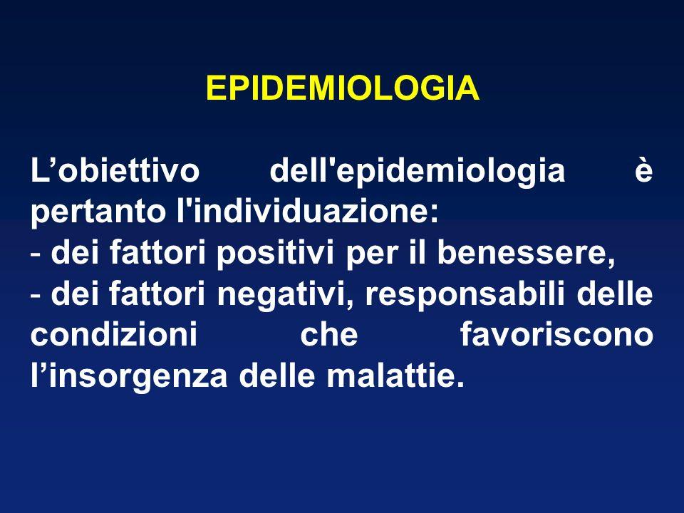 EPIDEMIOLOGIA Lobiettivo dell epidemiologia è pertanto l individuazione: - dei fattori positivi per il benessere, - dei fattori negativi, responsabili delle condizioni che favoriscono linsorgenza delle malattie.