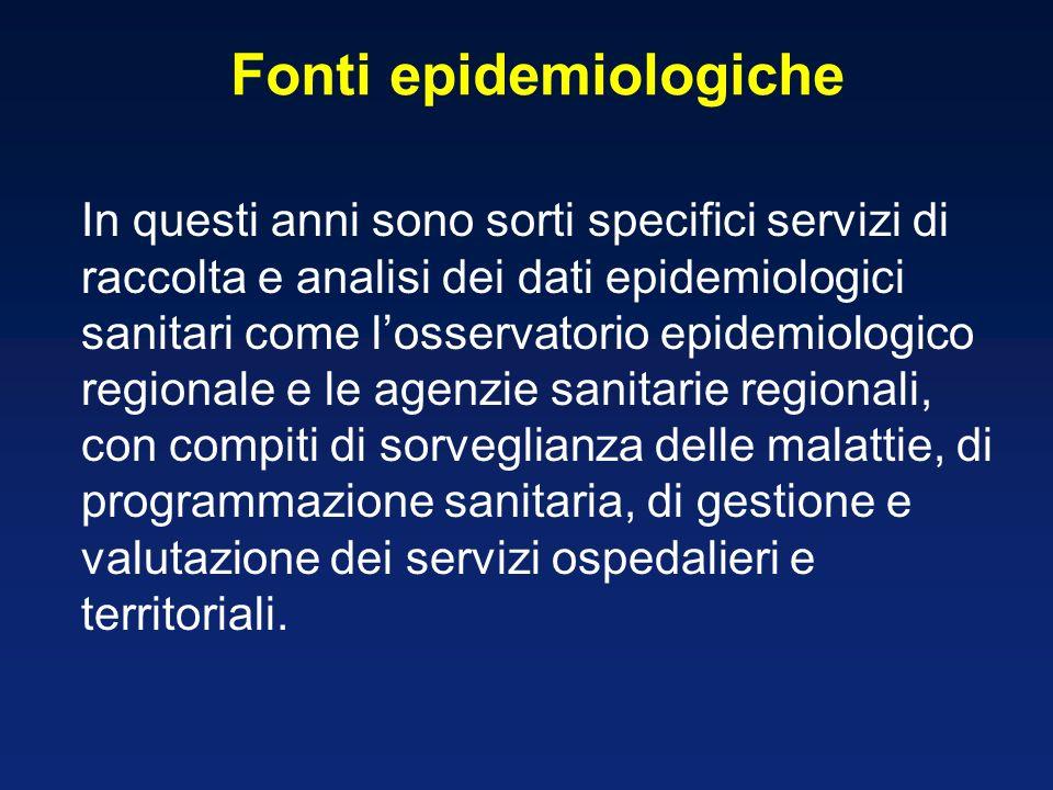 Fonti epidemiologiche In questi anni sono sorti specifici servizi di raccolta e analisi dei dati epidemiologici sanitari come losservatorio epidemiologico regionale e le agenzie sanitarie regionali, con compiti di sorveglianza delle malattie, di programmazione sanitaria, di gestione e valutazione dei servizi ospedalieri e territoriali.